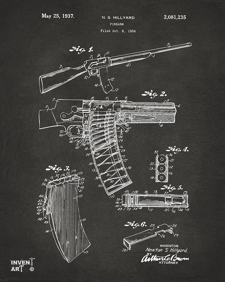 1937 Police Remington Model 8 Magazine Patent Artwork - Gray Drawing