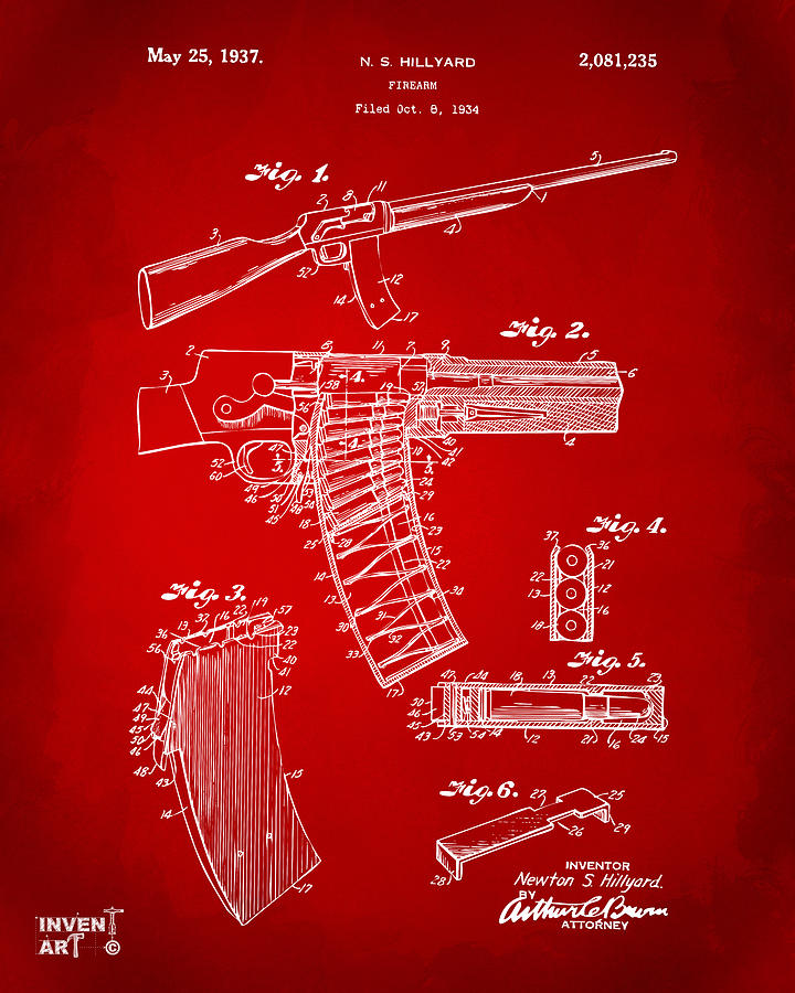 Police Gun Drawing - 1937 Police Remington Model 8 Magazine Patent Artwork - Red by Nikki Marie Smith
