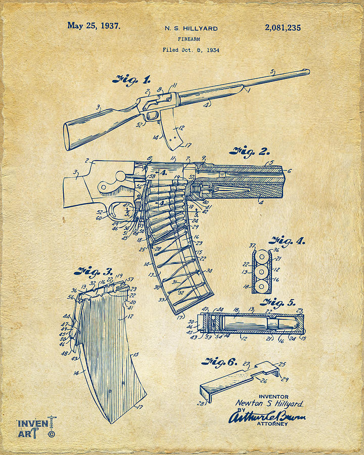 Police Gun Drawing - 1937 Police Remington Model 8 Magazine Patent Artwork - Vintage by Nikki Marie Smith