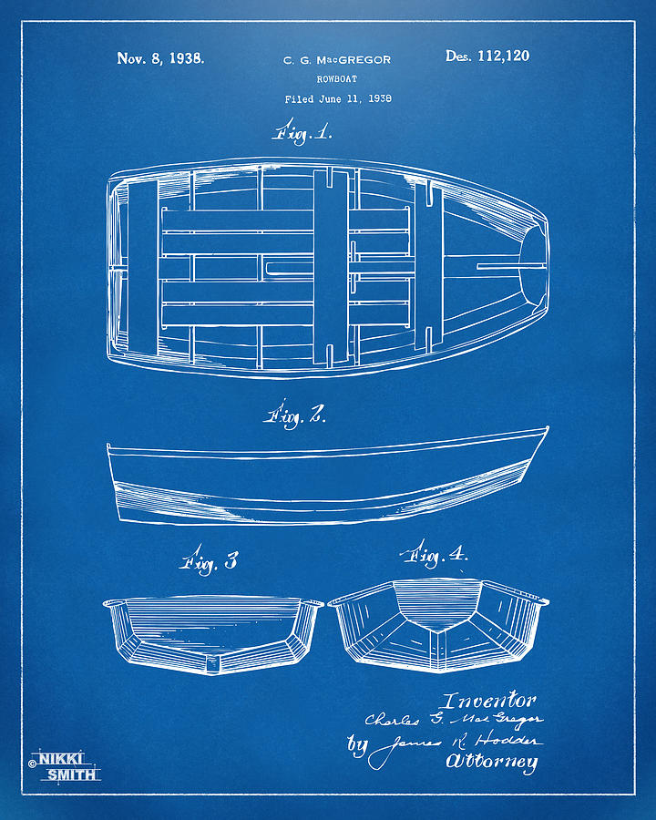 1938 Rowboat Patent Artwork - Blueprint Drawing