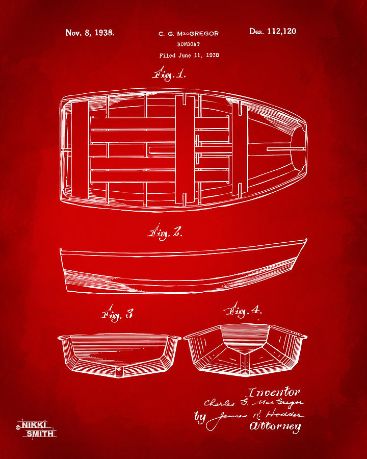 Rowboat Drawing - 1938 Rowboat Patent Artwork - Red by Nikki Marie Smith
