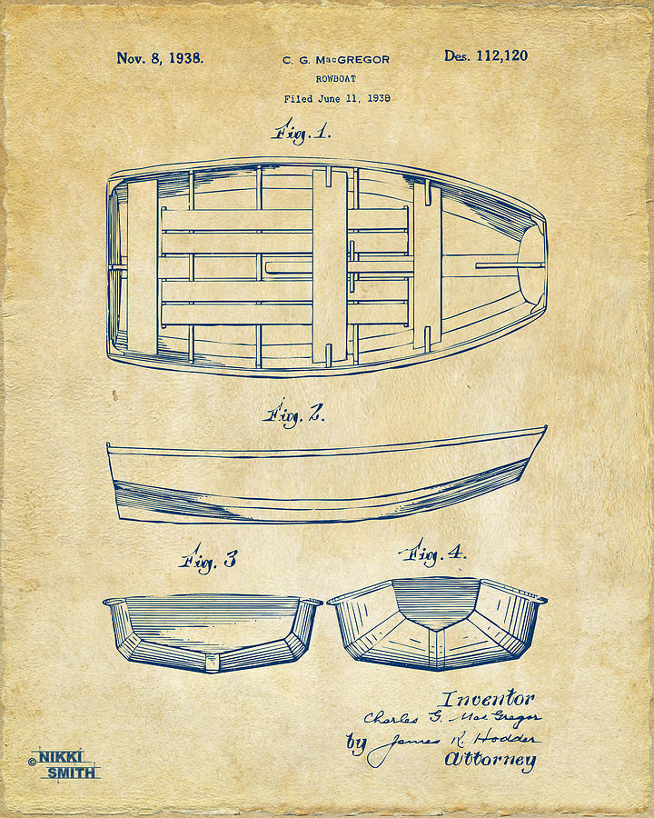 1938 Rowboat Patent Artwork - Vintage Drawing
