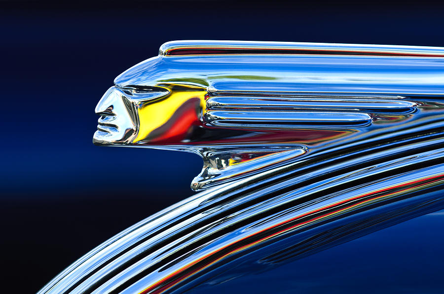 1939 Pontiac Silver Streak Chief Hood Ornament 3 Photograph  - 1939 Pontiac Silver Streak Chief Hood Ornament 3 Fine Art Print