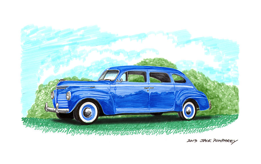 1940 Plymouth Four Door Classic Painting  - 1940 Plymouth Four Door Classic Fine Art Print