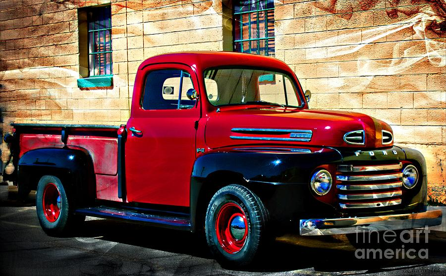 1940s Red Pick Up Painting  - 1940s Red Pick Up Fine Art Print
