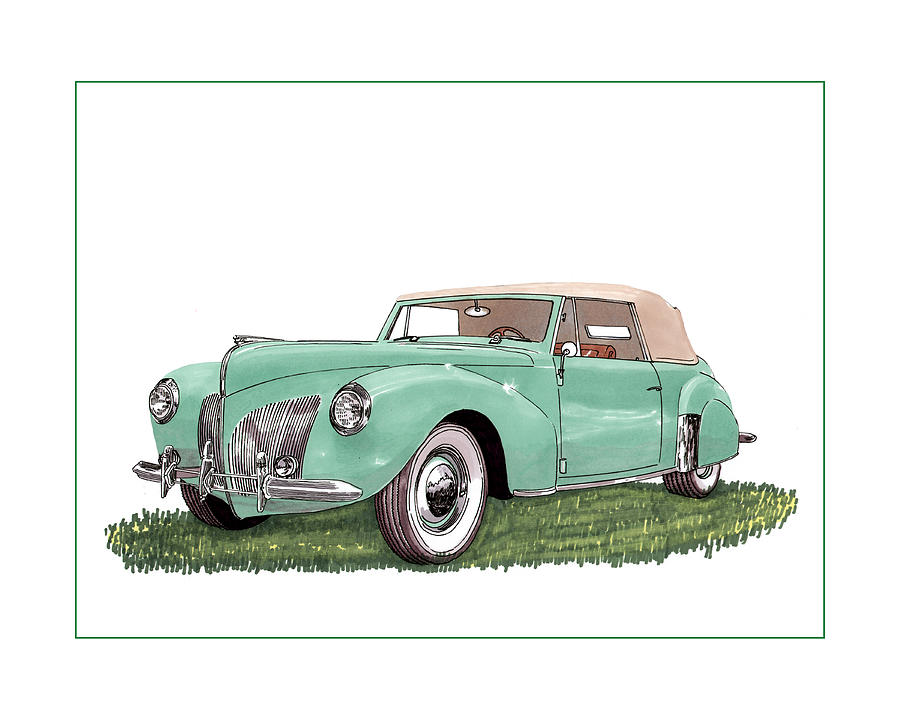 1941 Lincoln V-12 Continental Drawing  - 1941 Lincoln V-12 Continental Fine Art Print