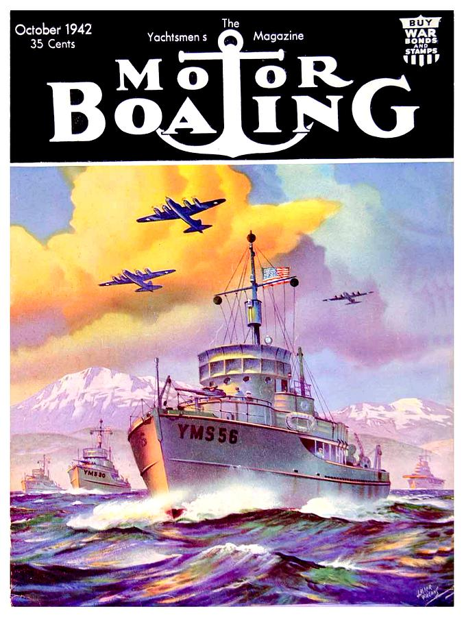 1942 Motor Boating Magazine Cover October Color