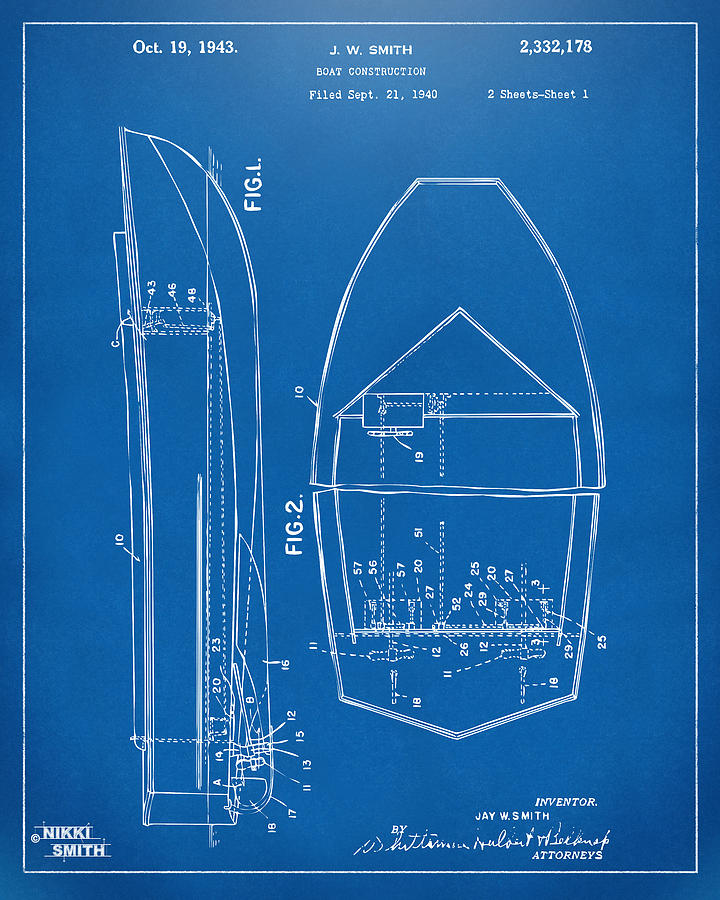 1943 Chris Craft Boat Patent Blueprint Drawing