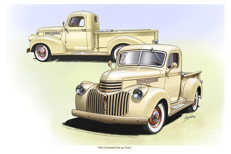 1944 Chevrolet Pick-up Composite Illustration Photograph  - 1944 Chevrolet Pick-up Composite Illustration Fine Art Print