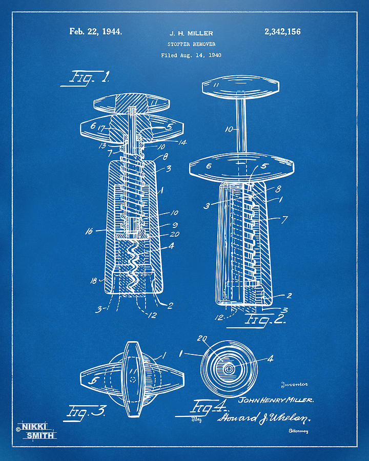 Wine Drawing - 1944 Wine Corkscrew Patent Artwork - Blueprint by Nikki Marie Smith