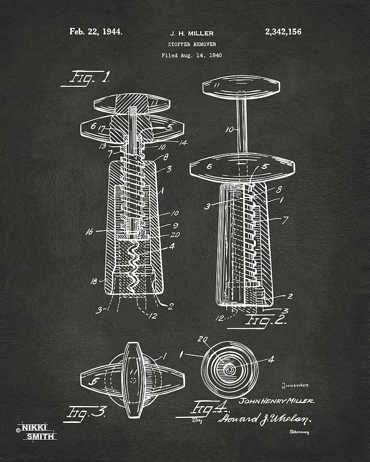 1944 Wine Corkscrew Patent Artwork - Gray Drawing