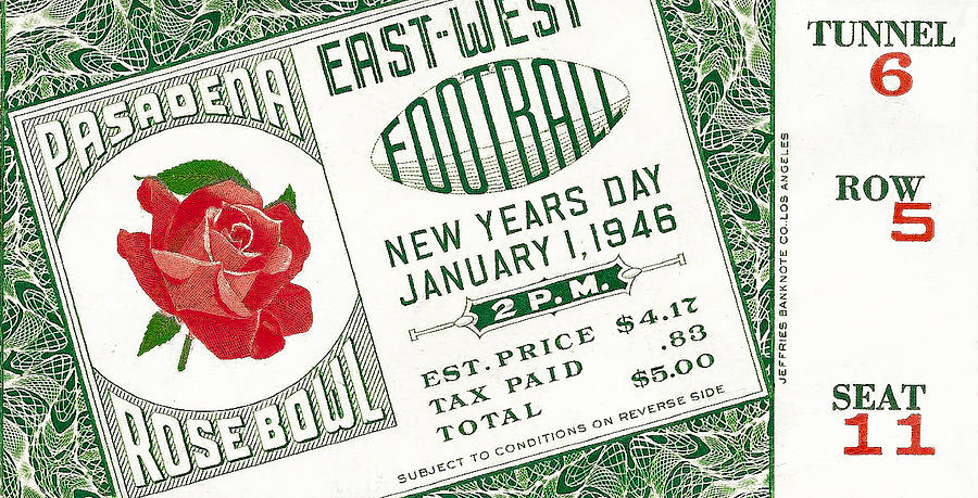 1946 Rose Bowl Ticket - Usc Vs Alabama Photograph  - 1946 Rose Bowl Ticket - Usc Vs Alabama Fine Art Print