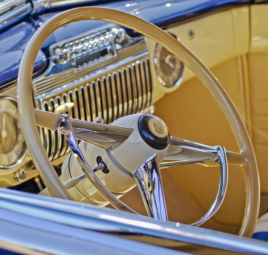1947 Cadillac 62 Convertible Coupe Photograph - 1947 Cadillac 62 Steering Wheel by Jill Reger