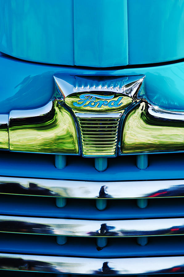 1947 Ford Deluxe Grille Ornament Photograph  - 1947 Ford Deluxe Grille Ornament Fine Art Print