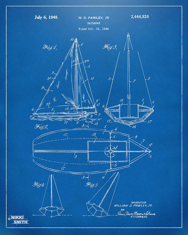 1948 Sailboat Patent Artwork - Blueprint Drawing
