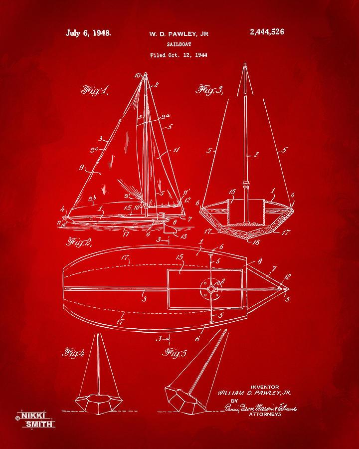 1948 Sailboat Patent Artwork - Red Drawing