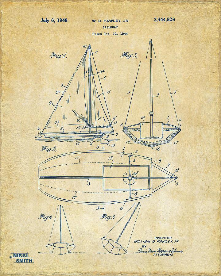 1948 Sailboat Patent Artwork - Vintage Drawing