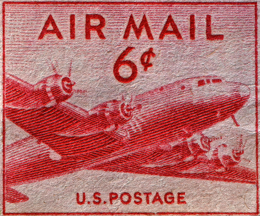 1949 Dc-4 Skymaster Air Mail Stamp Photograph  - 1949 Dc-4 Skymaster Air Mail Stamp Fine Art Print