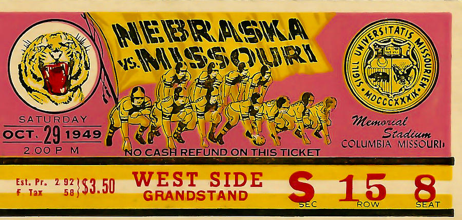 1949 Football Ticket - Nebraska Vs Missouri Photograph  - 1949 Football Ticket - Nebraska Vs Missouri Fine Art Print