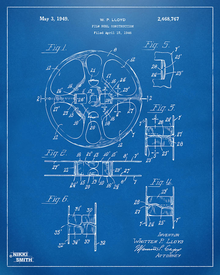 Movie Drawing - 1949 Movie Film Reel Patent Artwork - Blueprint by Nikki Marie Smith