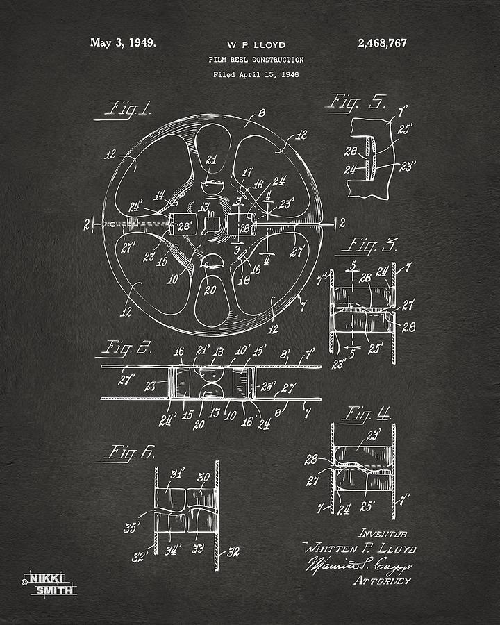 1949 Movie Film Reel Patent Artwork - Gray Drawing