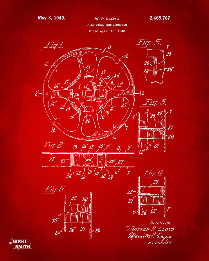 1949 Movie Film Reel Patent Artwork - Red Drawing
