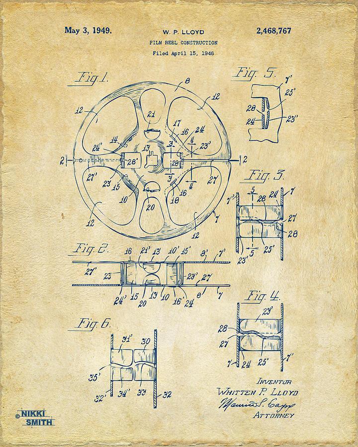 1949 Movie Film Reel Patent Artwork - Vintage Drawing