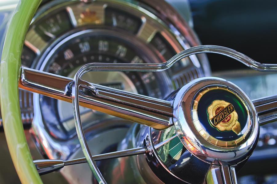 1950 Chrysler New Yorker Coupe Photograph - 1950 Chrysler New Yorker Coupe Steering Wheel Emblem by Jill Reger