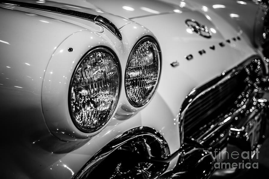 1950s Chevrolet Corvette C1 In Black And White Photograph