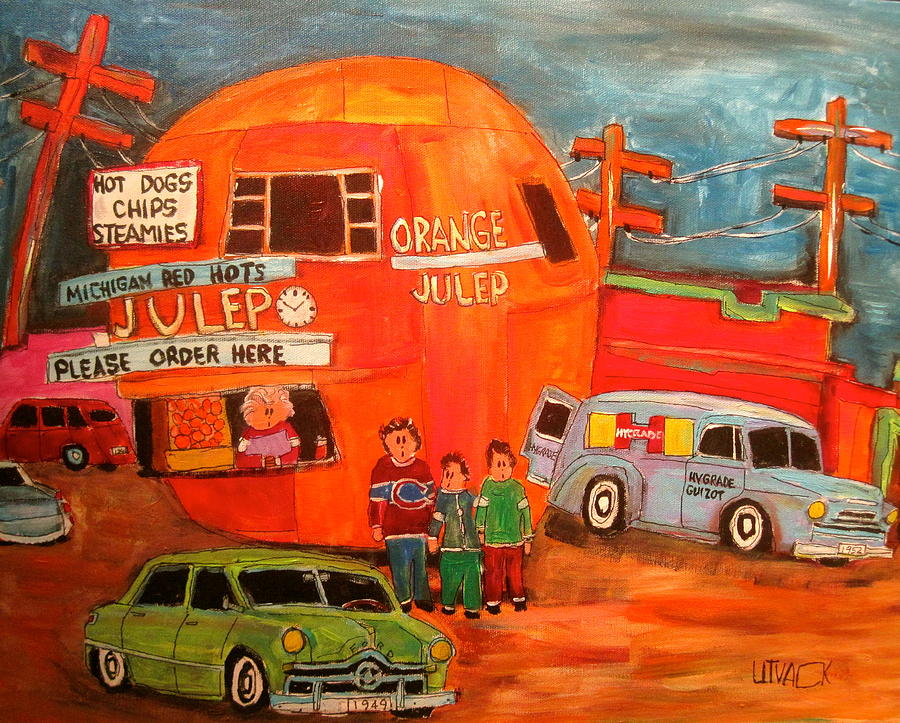 Montreal Icon Painting - 1950s Orange Julep Montreal Memories by Michael Litvack