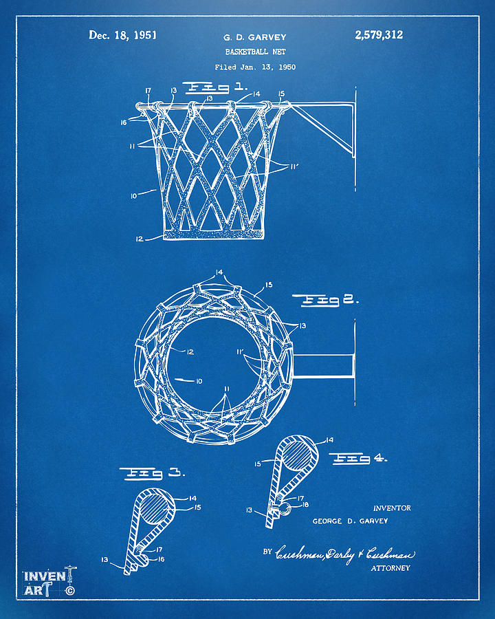 1951 Basketball Net Patent Artwork - Blueprint Drawing