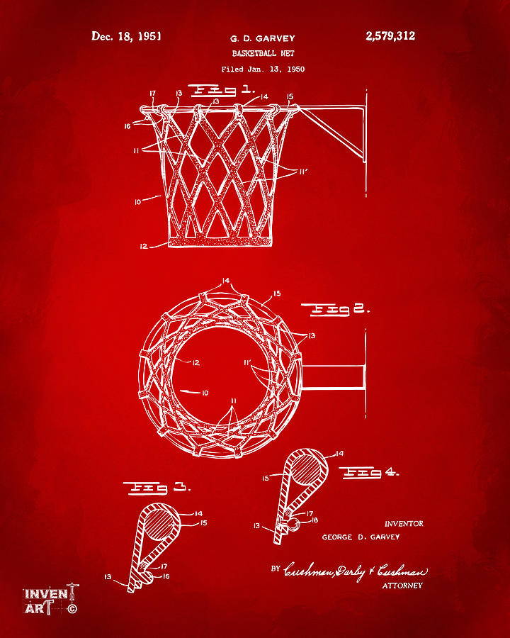 1951 Basketball Net Patent Artwork - Red Drawing