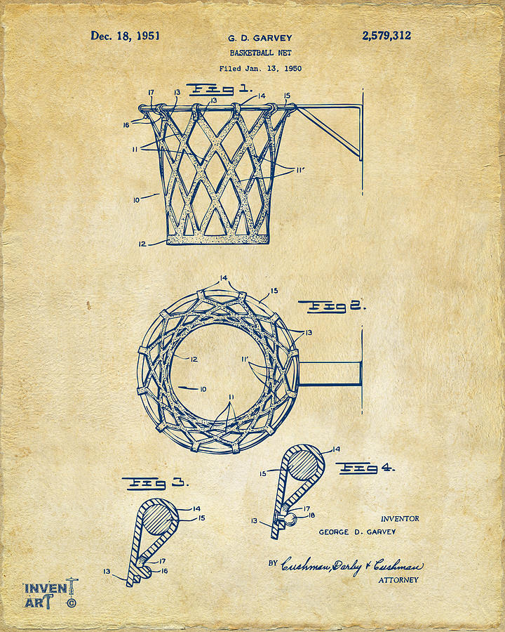 1951 Basketball Net Patent Artwork - Vintage Drawing