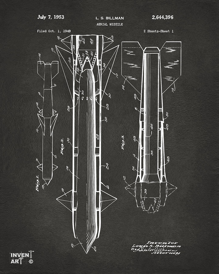 Aerial Missle Drawing - 1953 Aerial Missile Patent Gray by Nikki Marie Smith