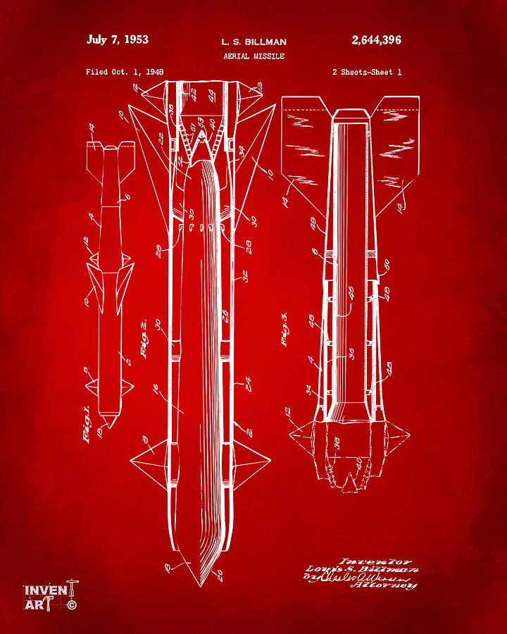 Aerial Missle Drawing - 1953 Aerial Missile Patent Red by Nikki Marie Smith