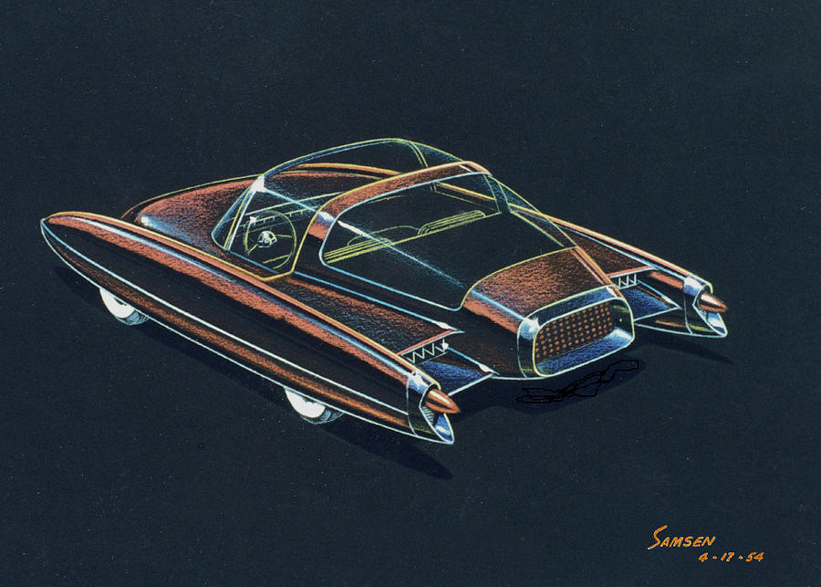 1954  Ford Cougar Experimental Car Concept Design Concept Sketch Drawing  - 1954  Ford Cougar Experimental Car Concept Design Concept Sketch Fine Art Print