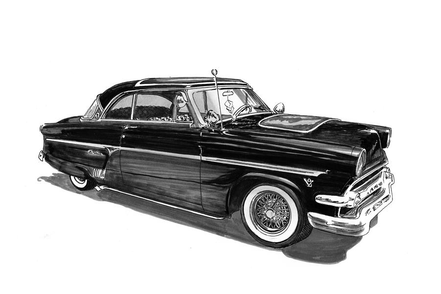 1954 Ford Skyliner Drawing  - 1954 Ford Skyliner Fine Art Print
