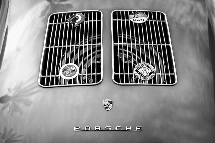 1954 Porsche Spyder Rear Emblem Photograph - 1954 Porsche Spyder Rear Emblem -0042bw by Jill Reger