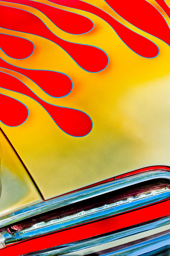 1954 Studebaker Champion Coupe Hot Rod Red With Flames - Grille Emblem Photograph  - 1954 Studebaker Champion Coupe Hot Rod Red With Flames - Grille Emblem Fine Art Print
