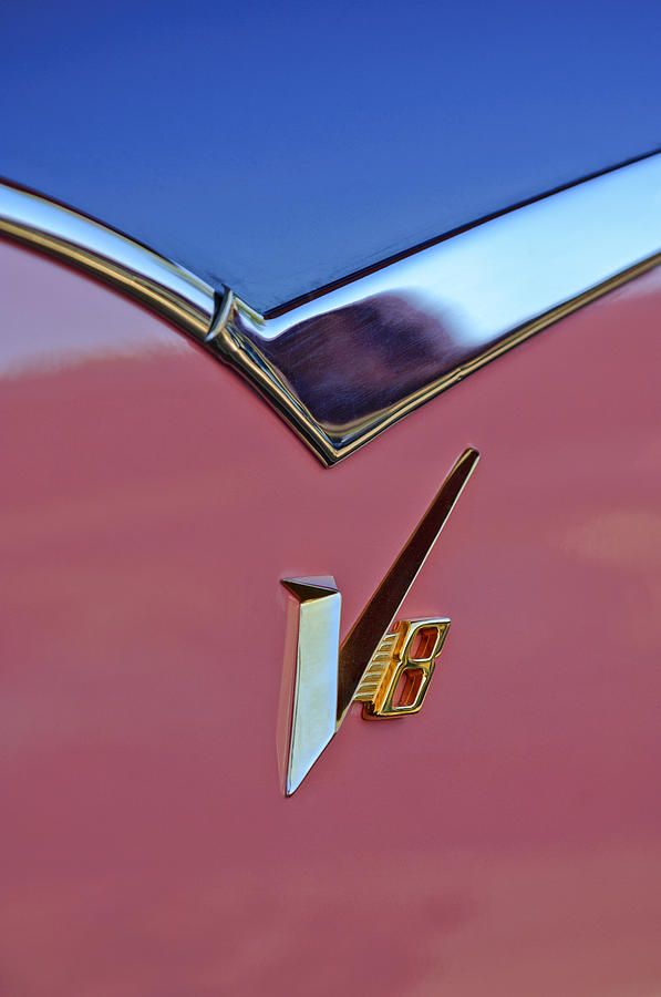 1955 Dodge Royal Lancer V8 Emblem Photograph  - 1955 Dodge Royal Lancer V8 Emblem Fine Art Print
