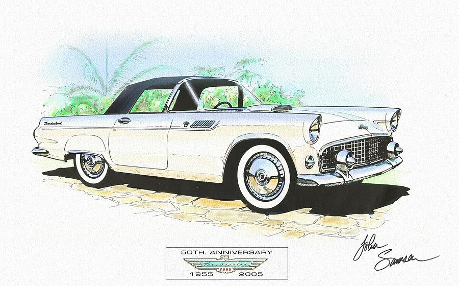 1955 Ford Thunderbird   White  Classic Car Art Sketch Rendering Painting