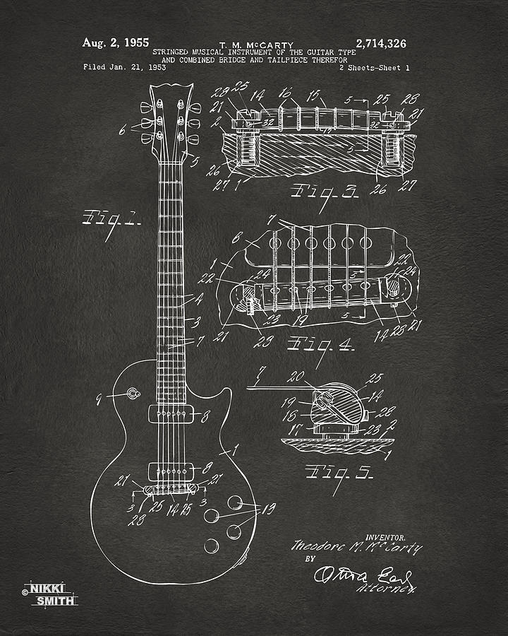 Guitar Drawing - 1955 Mccarty Gibson Les Paul Guitar Patent Artwork - Gray by Nikki Marie Smith