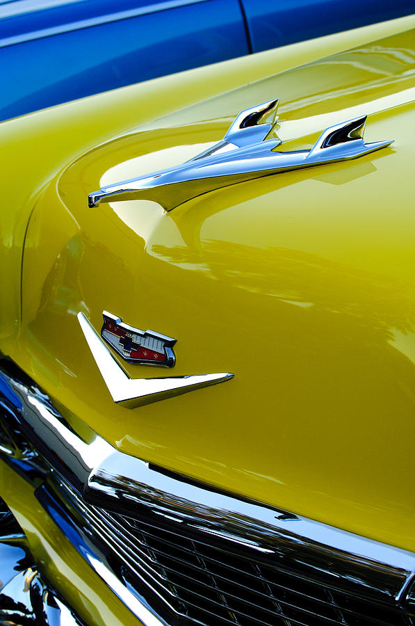 1956 Chevrolet Hood Ornament 3 Photograph  - 1956 Chevrolet Hood Ornament 3 Fine Art Print