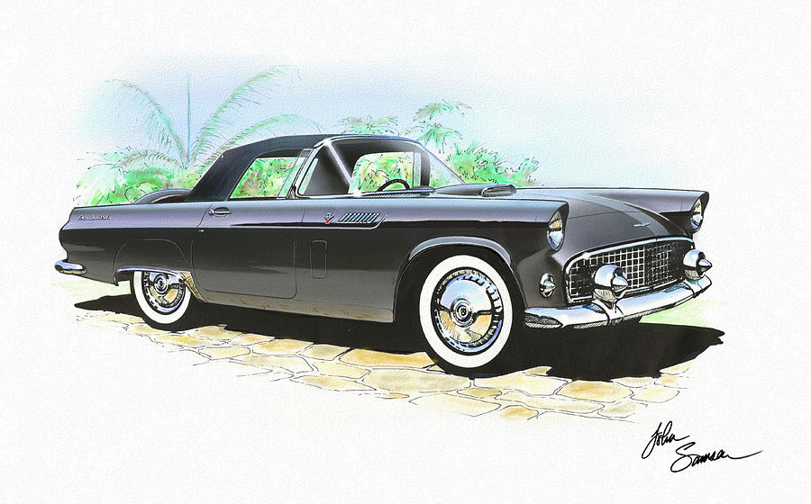 1956 Ford Thunderbird  Black  Classic Vintage Sports Car Art Sketch Rendering         Painting  - 1956 Ford Thunderbird  Black  Classic Vintage Sports Car Art Sketch Rendering         Fine Art Print
