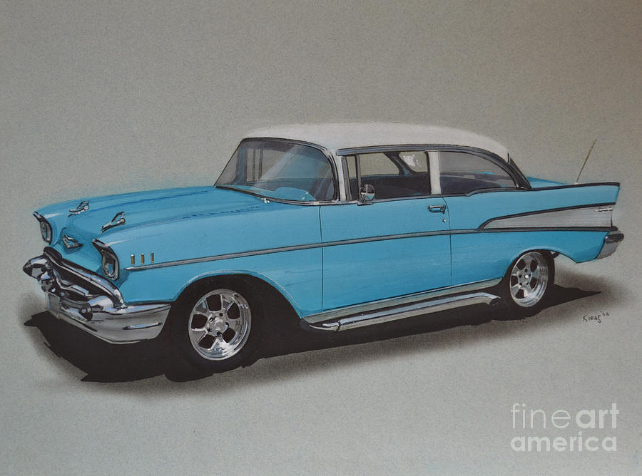 1957 Bel Air Drawing  - 1957 Bel Air Fine Art Print