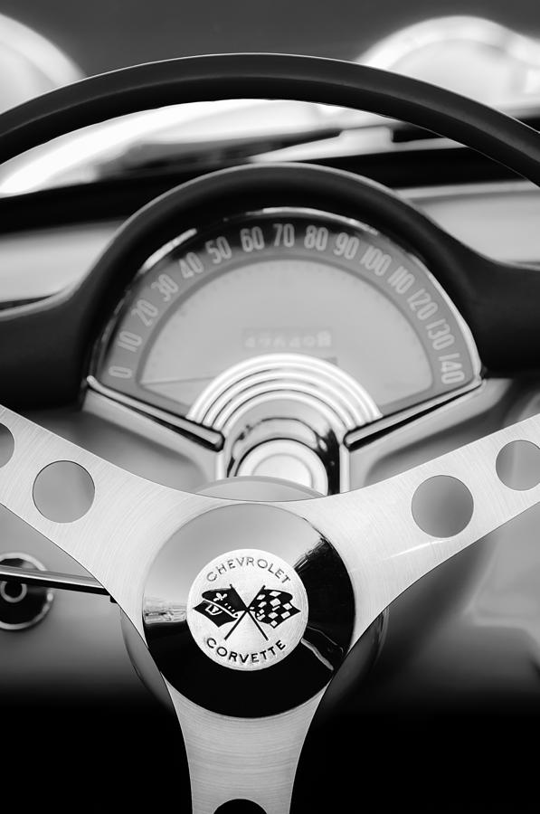 1957 Chevrolet Corvette Convertible Steering Wheel 2 Photograph  - 1957 Chevrolet Corvette Convertible Steering Wheel 2 Fine Art Print