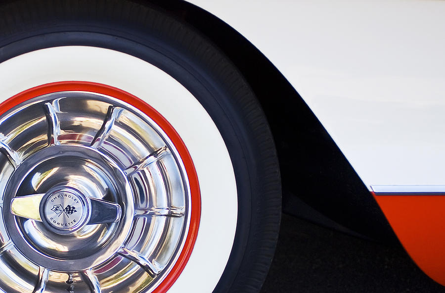 1957 Chevrolet Corvette Wheel Photograph  - 1957 Chevrolet Corvette Wheel Fine Art Print