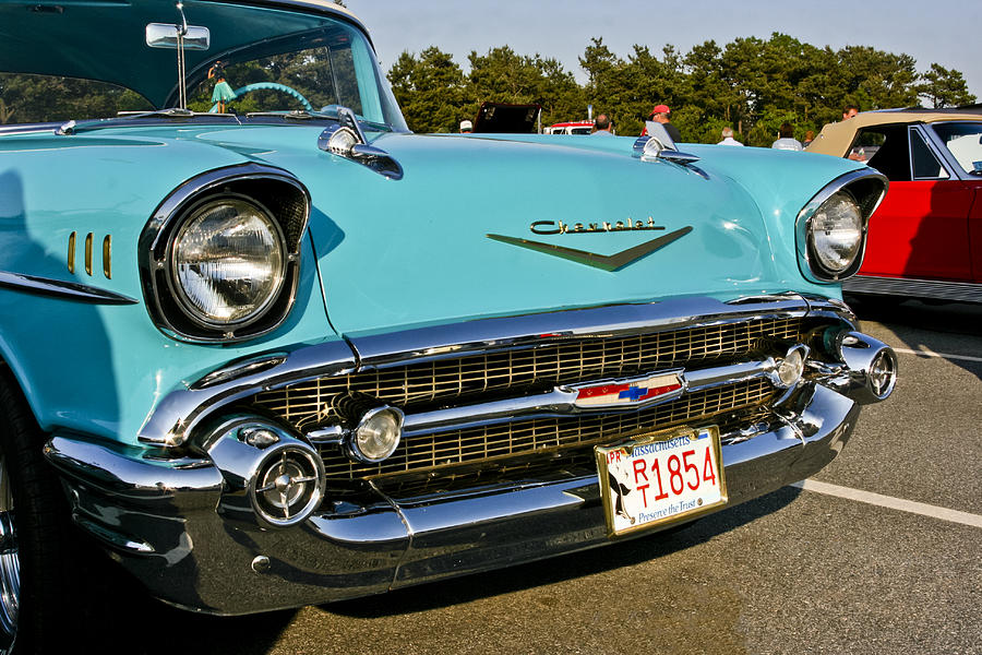 1957 Chevy Bel Air Blue Front Grill Photograph By Dennis