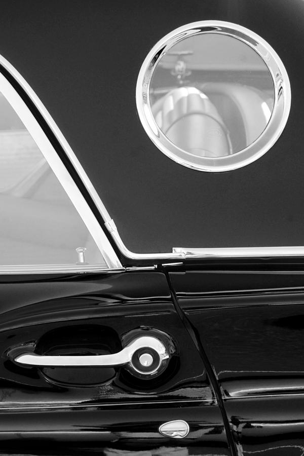 1957 Ford Thunderbird Window Black And White Photograph