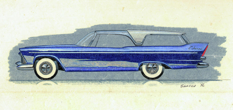 1957 Plymouth Cabana  Station Wagon Styling Design Concept Sketch Drawing  - 1957 Plymouth Cabana  Station Wagon Styling Design Concept Sketch Fine Art Print